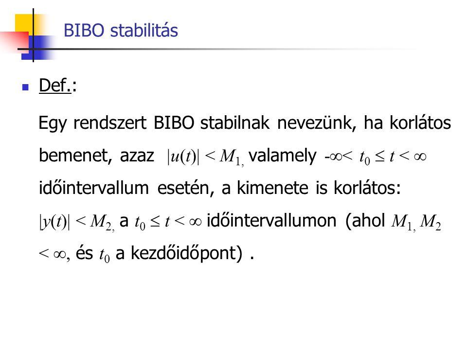 BIBO stabilitás Def.: