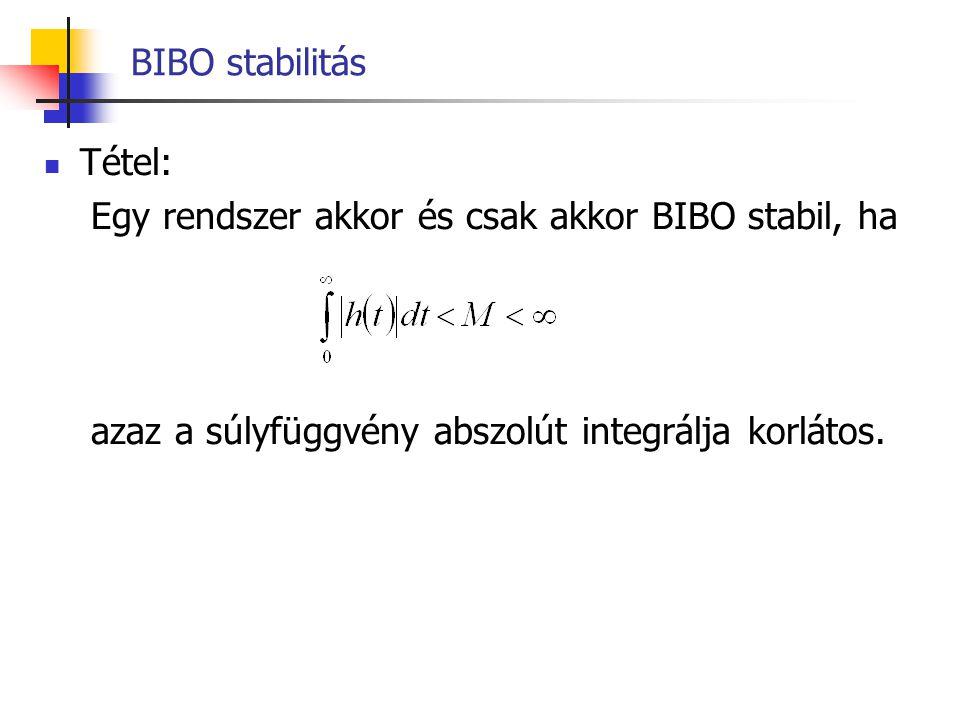 BIBO stabilitás Tétel: Egy rendszer akkor és csak akkor BIBO stabil, ha.