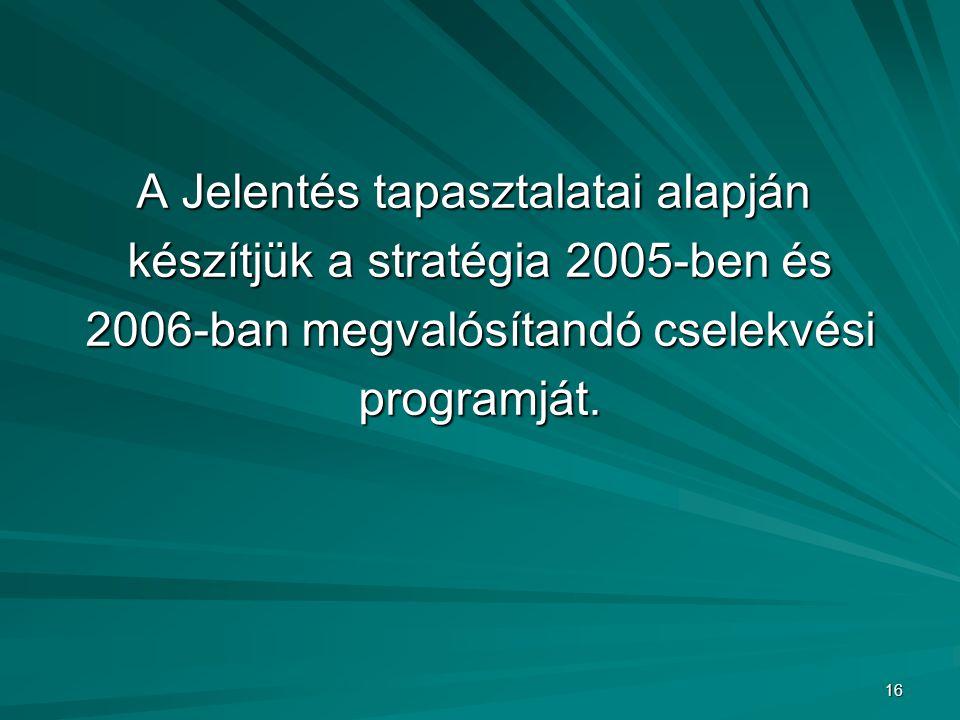A Jelentés tapasztalatai alapján készítjük a stratégia 2005-ben és