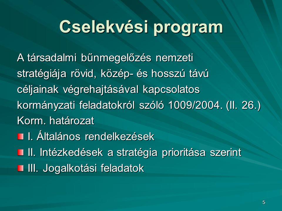 Cselekvési program A társadalmi bűnmegelőzés nemzeti