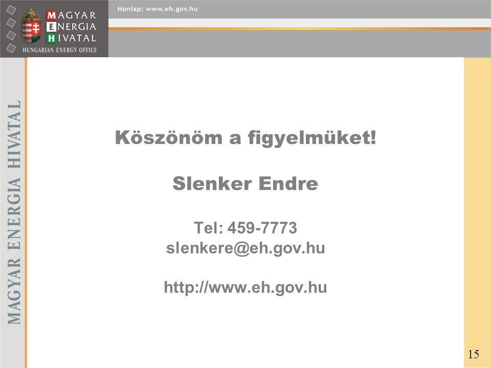 Köszönöm a figyelmüket. Slenker Endre Tel: 459-7773 slenkere@eh. gov