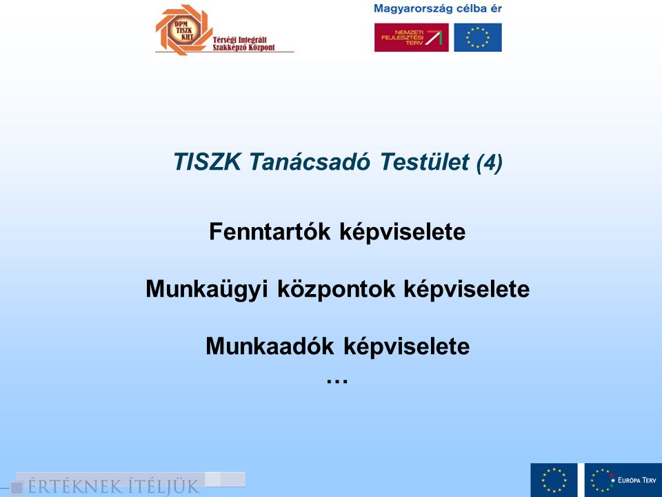 TISZK Tanácsadó Testület (4) Fenntartók képviselete