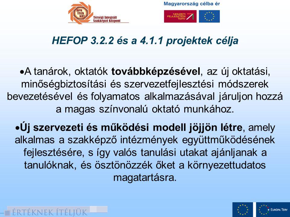 HEFOP 3.2.2 és a 4.1.1 projektek célja