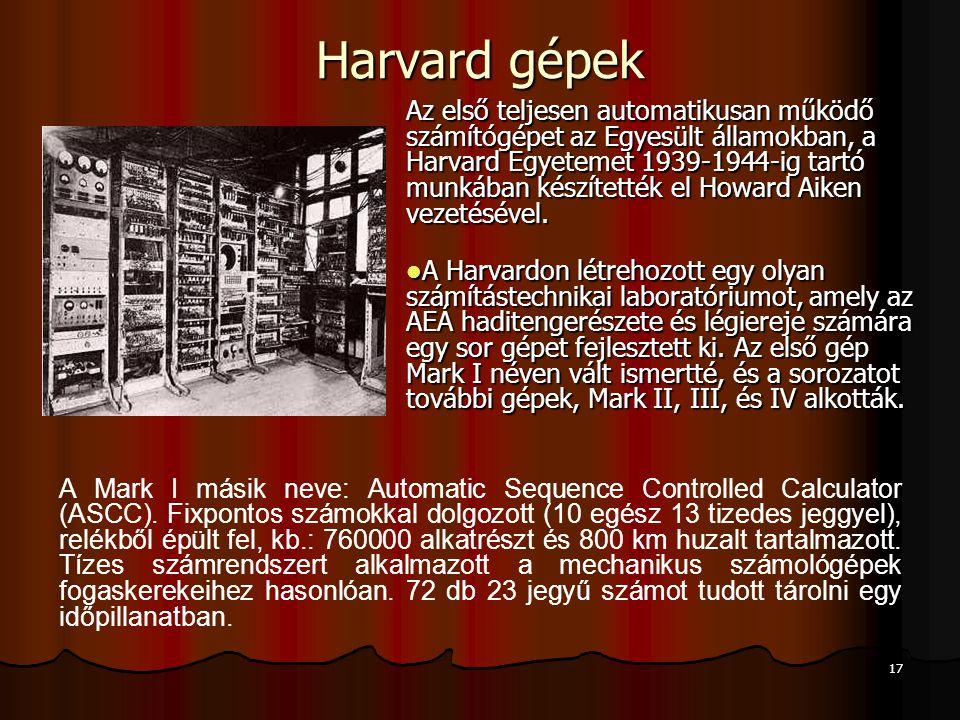 Harvard gépek