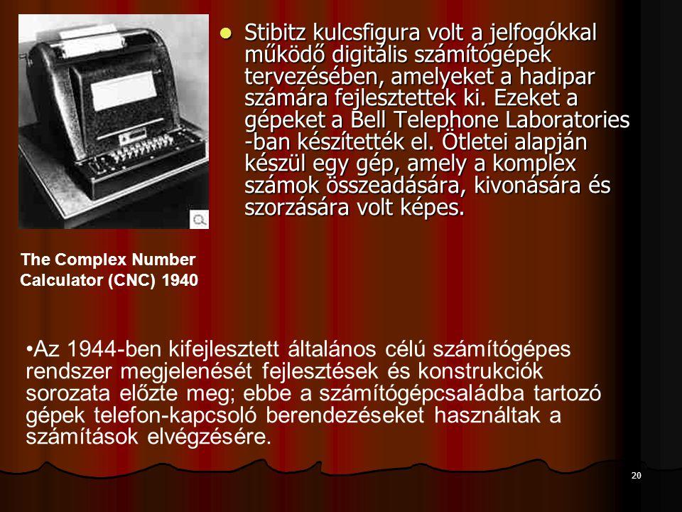 Stibitz kulcsfigura volt a jelfogókkal működő digitális számítógépek tervezésében, amelyeket a hadipar számára fejlesztettek ki. Ezeket a gépeket a Bell Telephone Laboratories -ban készítették el. Ötletei alapján készül egy gép, amely a komplex számok összeadására, kivonására és szorzására volt képes.