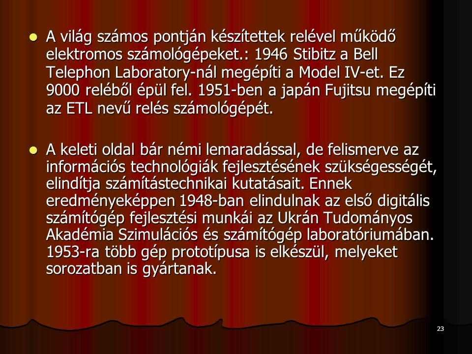 A világ számos pontján készítettek relével működő elektromos számológépeket.: 1946 Stibitz a Bell Telephon Laboratory-nál megépíti a Model IV-et. Ez 9000 reléből épül fel. 1951-ben a japán Fujitsu megépíti az ETL nevű relés számológépét.