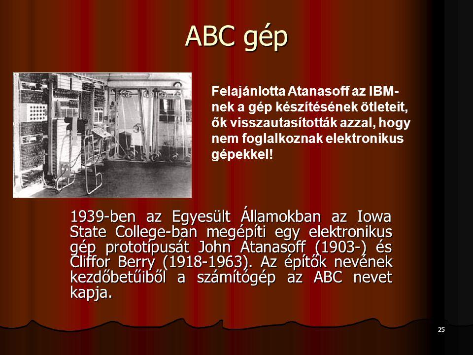 ABC gép Felajánlotta Atanasoff az IBM-nek a gép készítésének ötleteit, ők visszautasították azzal, hogy nem foglalkoznak elektronikus gépekkel!
