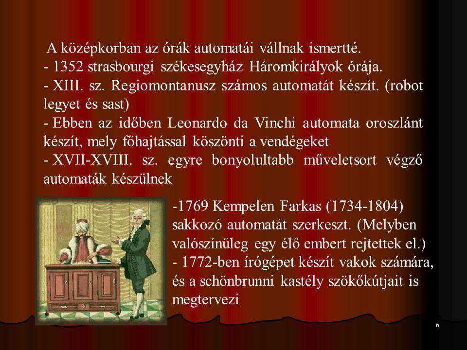 A középkorban az órák automatái vállnak ismertté.