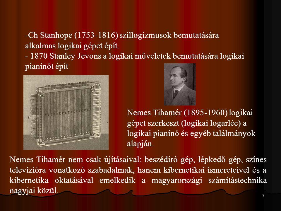 Ch Stanhope (1753-1816) szillogizmusok bemutatására alkalmas logikai gépet épít.