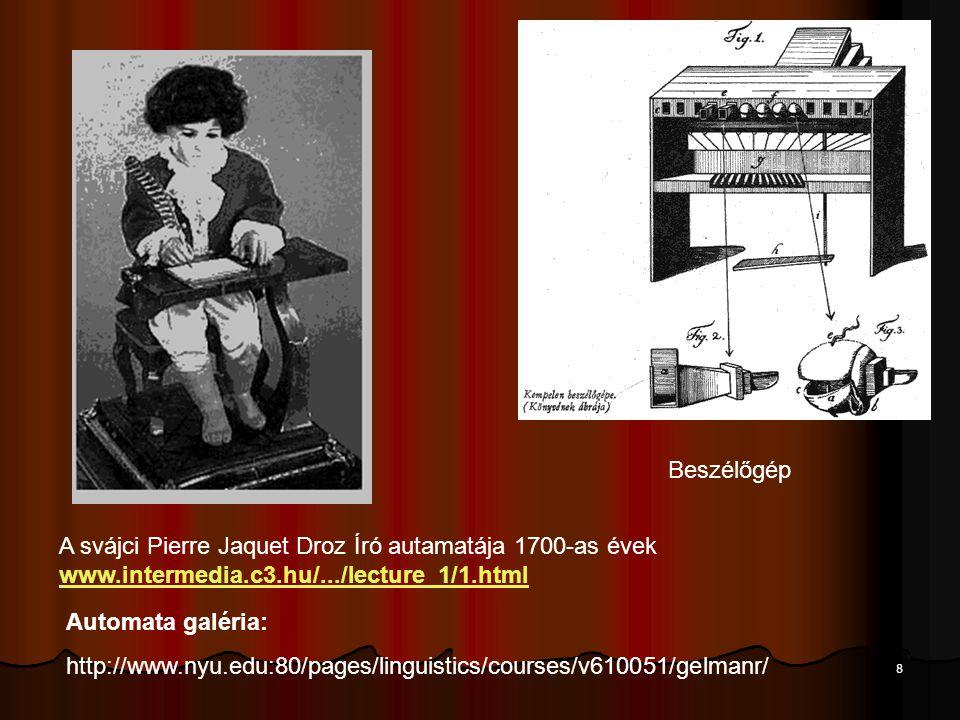 Beszélőgép A svájci Pierre Jaquet Droz Író autamatája 1700-as évek www.intermedia.c3.hu/.../lecture_1/1.html.