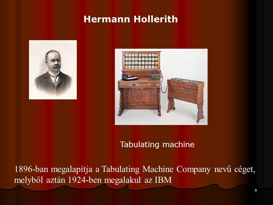 Hermann Hollerith Tabulating machine.