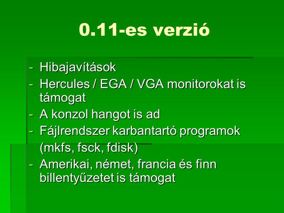 0.11-es verzió Hibajavítások