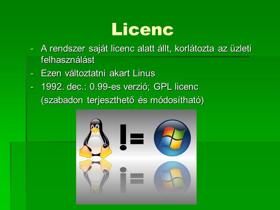 Licenc A rendszer saját licenc alatt állt, korlátozta az üzleti felhasználást. Ezen változtatni akart Linus.