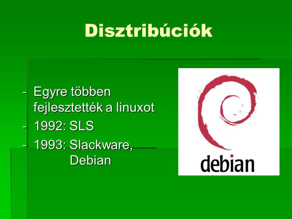 Disztribúciók Egyre többen fejlesztették a linuxot 1992: SLS