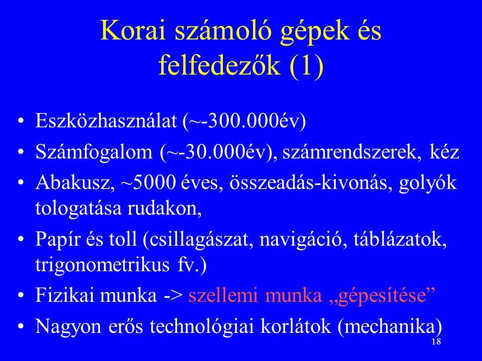 Korai számoló gépek és felfedezők (1)