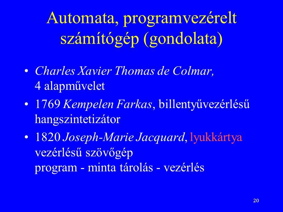 Automata, programvezérelt számítógép (gondolata)