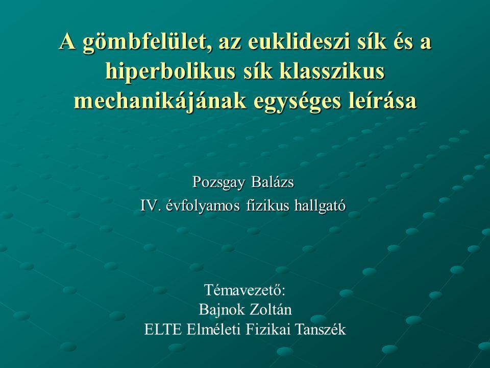 Pozsgay Balázs IV. évfolyamos fizikus hallgató