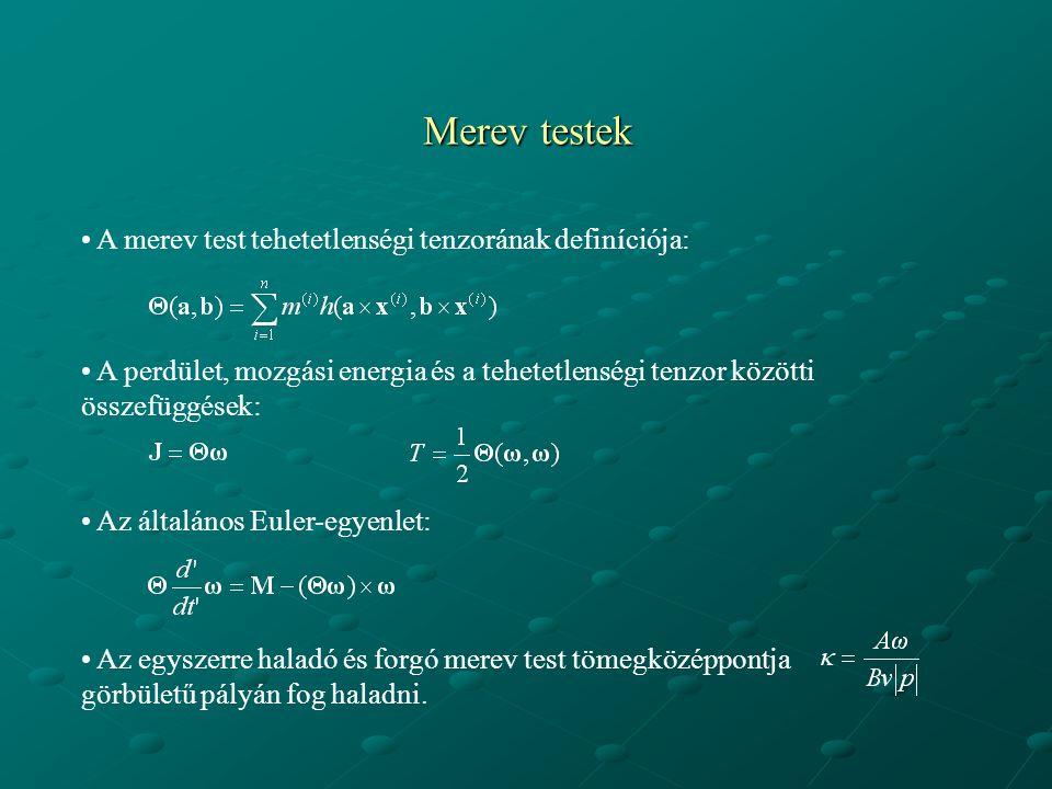 Merev testek A merev test tehetetlenségi tenzorának definíciója: