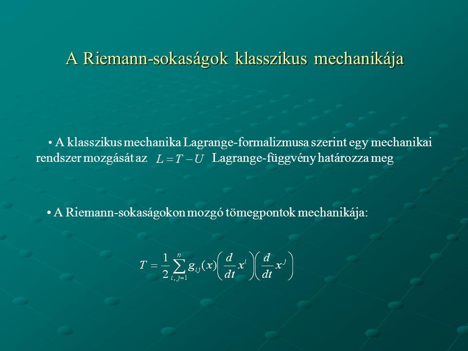 A Riemann-sokaságok klasszikus mechanikája