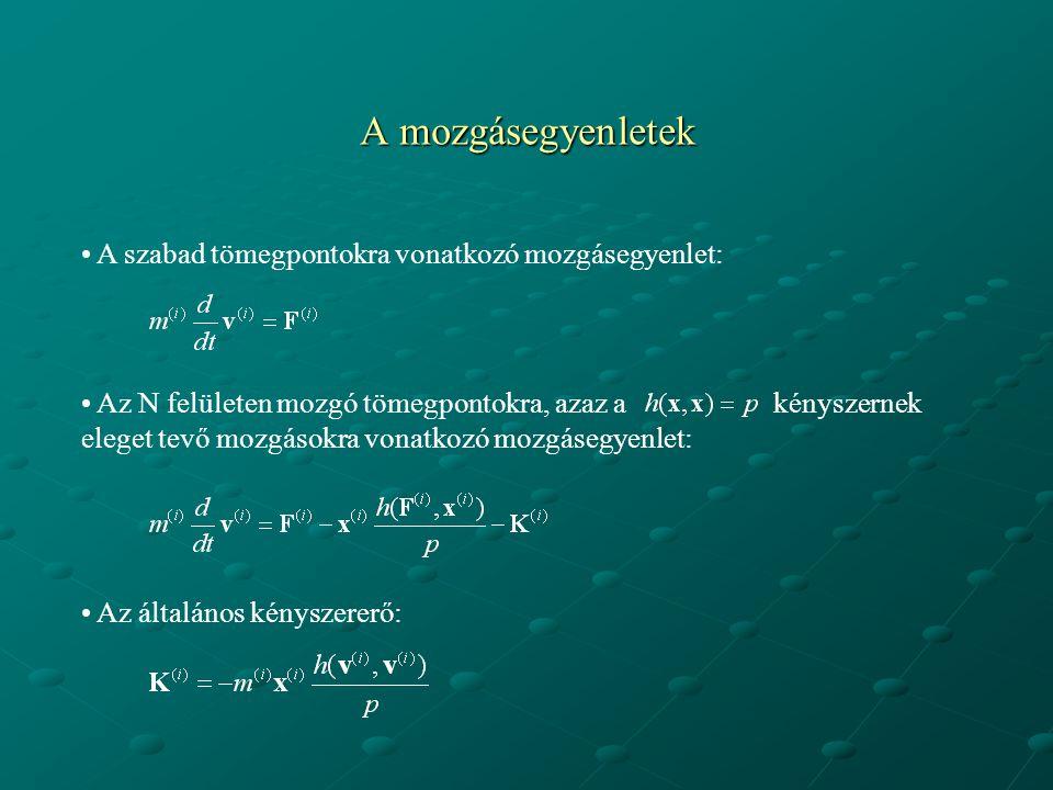 A mozgásegyenletek A szabad tömegpontokra vonatkozó mozgásegyenlet:
