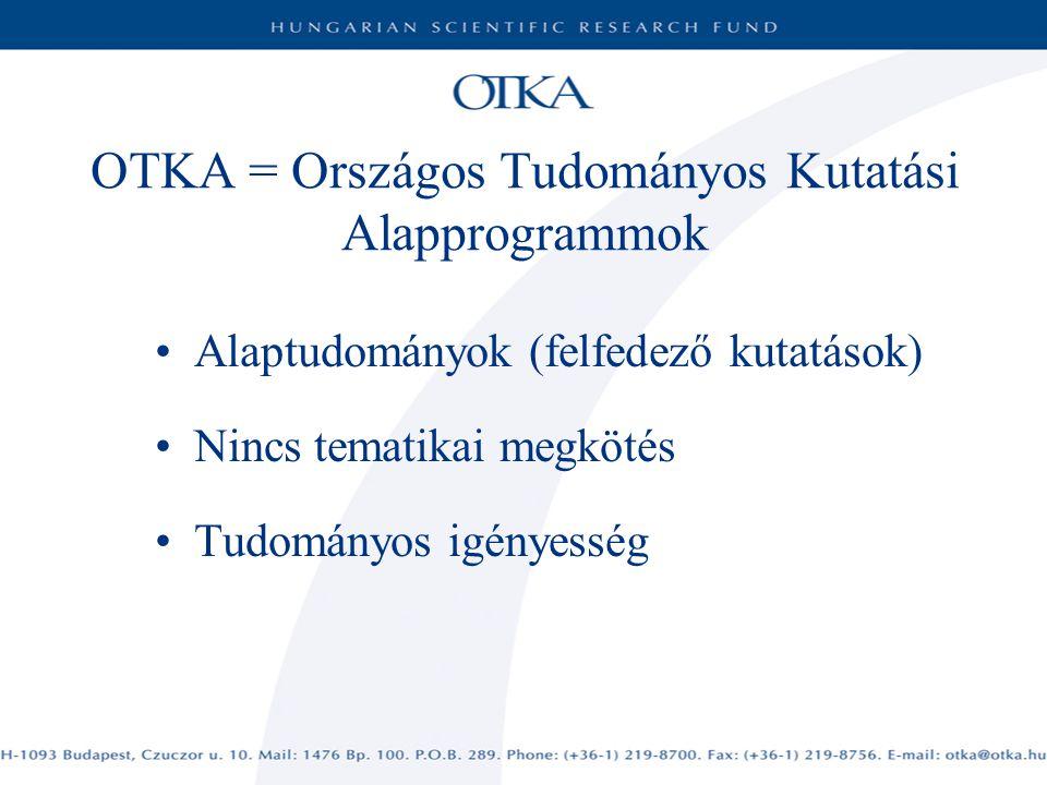OTKA = Országos Tudományos Kutatási Alapprogrammok