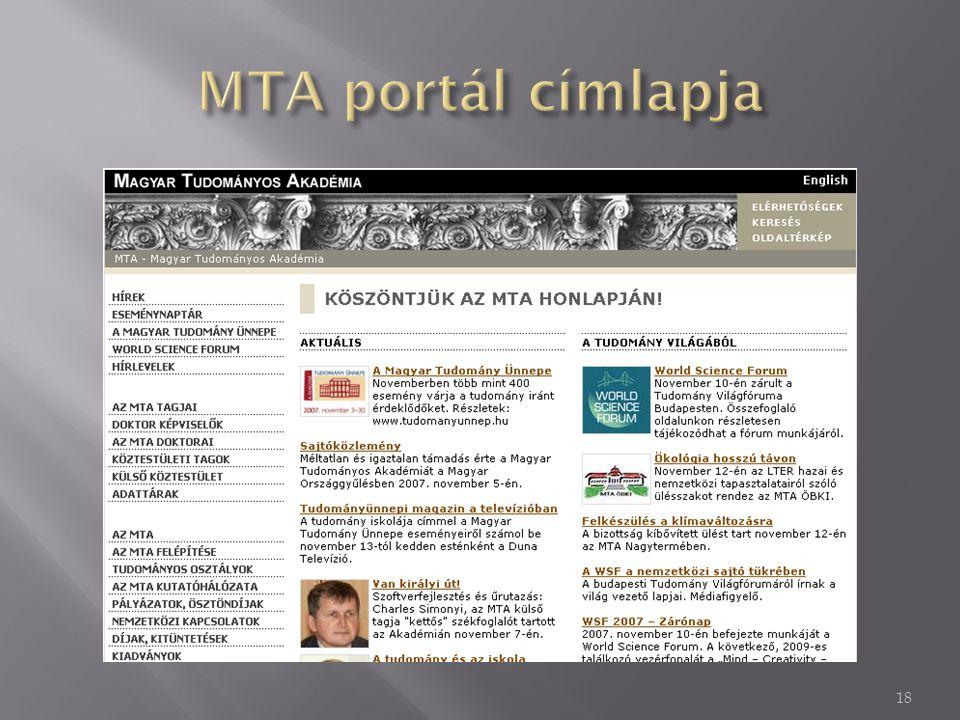 MTA portál címlapja