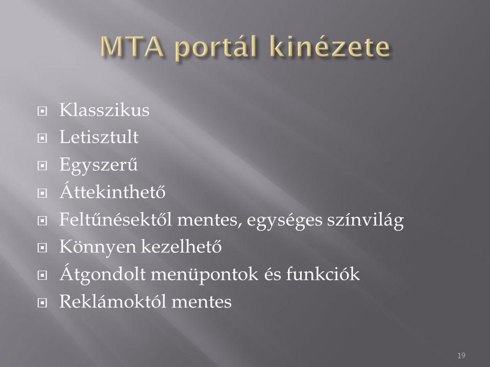 MTA portál kinézete Klasszikus Letisztult Egyszerű Áttekinthető