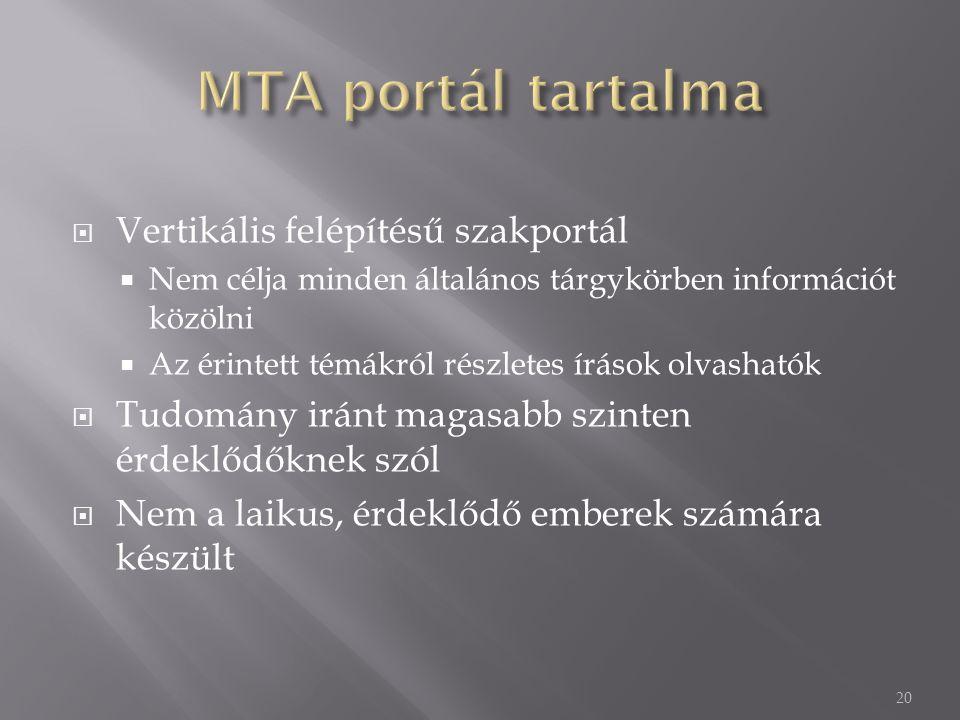 MTA portál tartalma Vertikális felépítésű szakportál