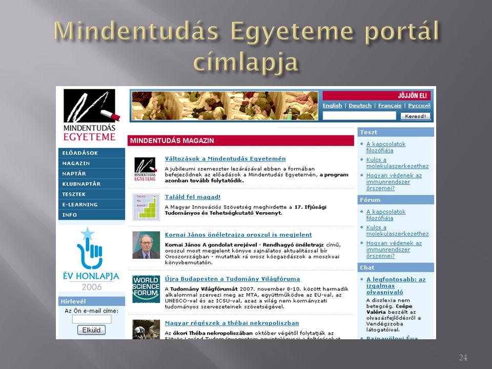Mindentudás Egyeteme portál címlapja