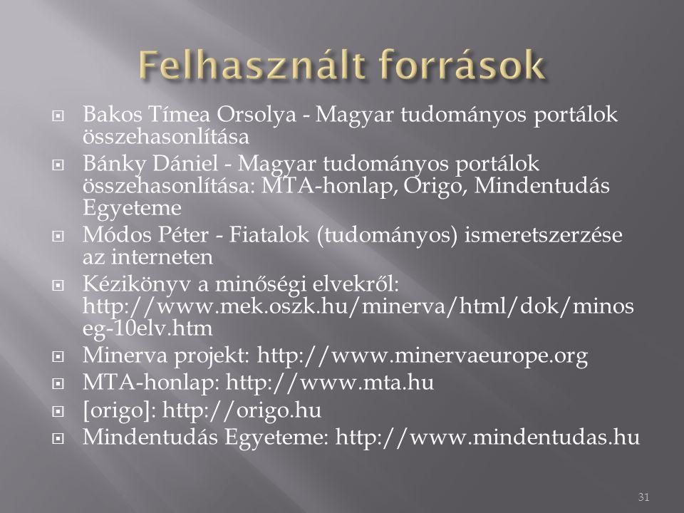 Felhasznált források Bakos Tímea Orsolya - Magyar tudományos portálok összehasonlítása.