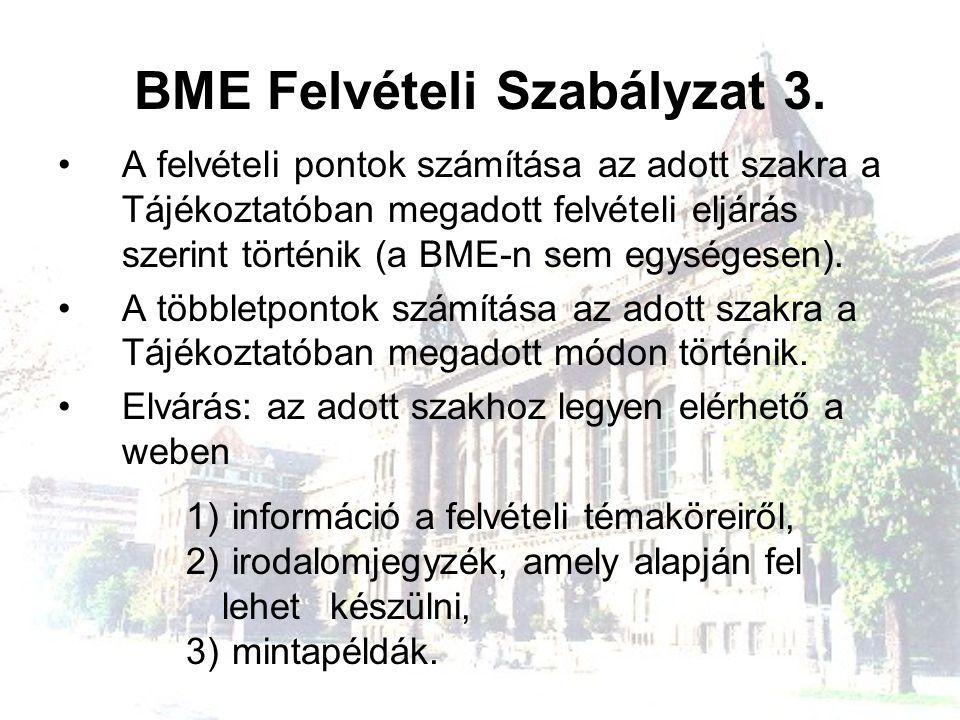 BME Felvételi Szabályzat 3.