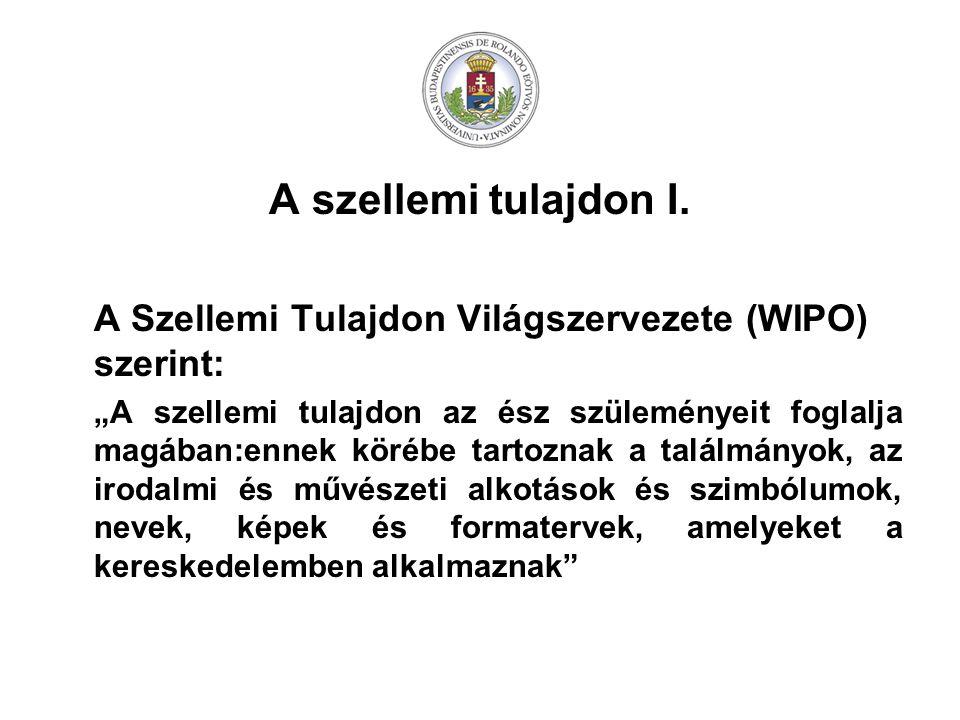 A szellemi tulajdon I. A Szellemi Tulajdon Világszervezete (WIPO) szerint: