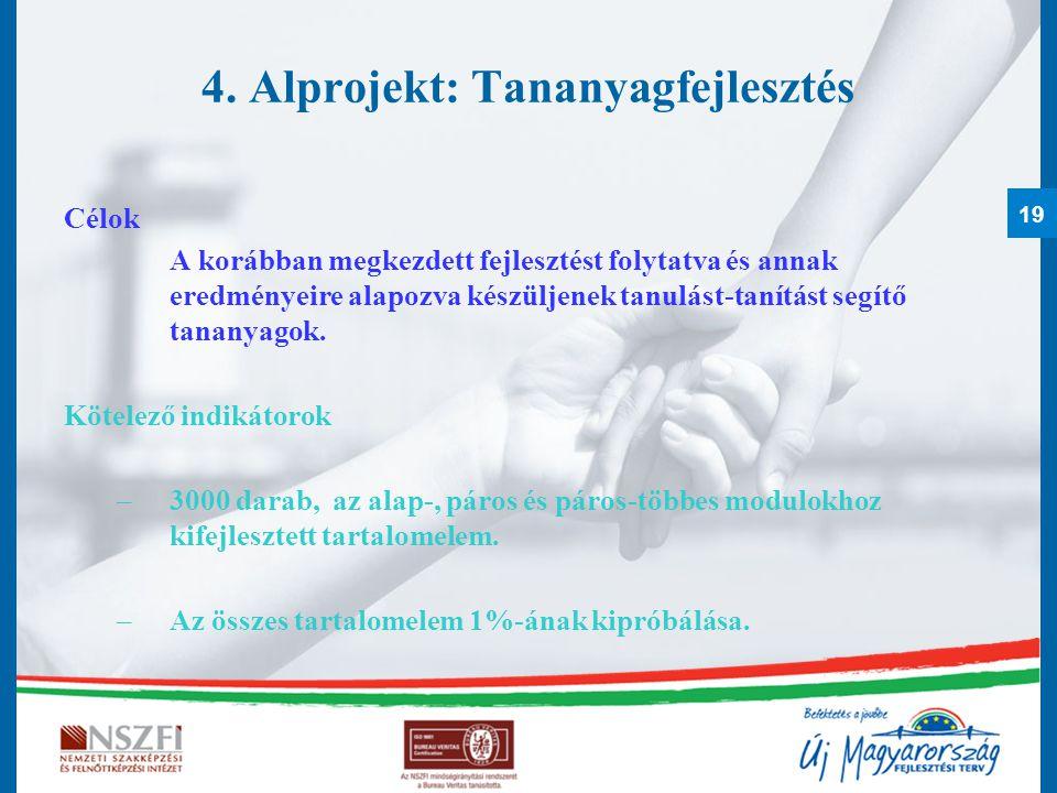 4. Alprojekt: Tananyagfejlesztés