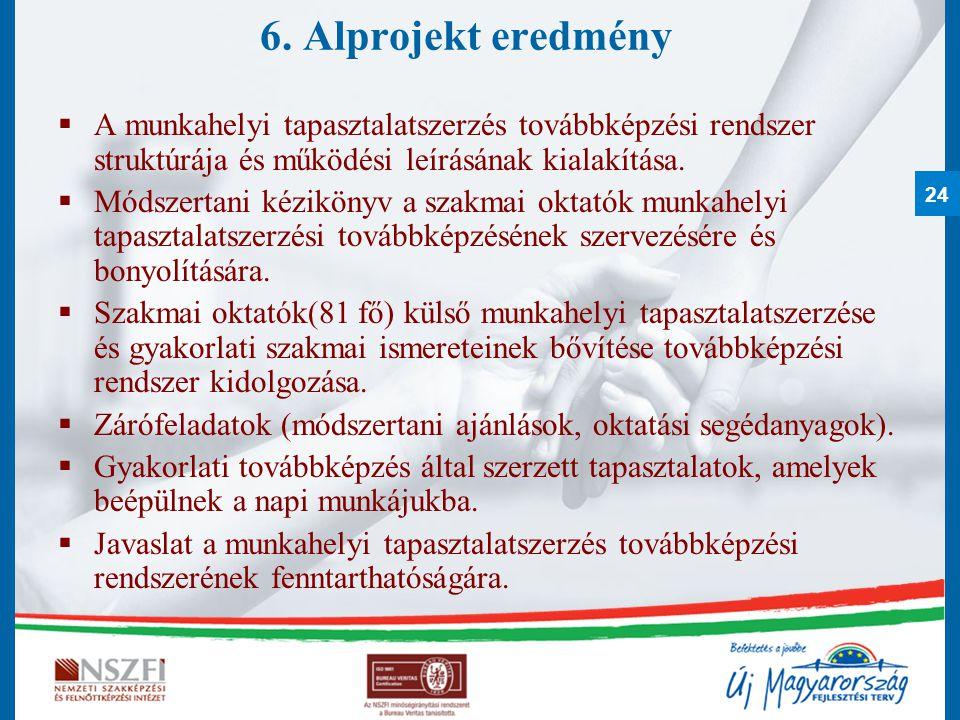 6. Alprojekt eredmény A munkahelyi tapasztalatszerzés továbbképzési rendszer struktúrája és működési leírásának kialakítása.