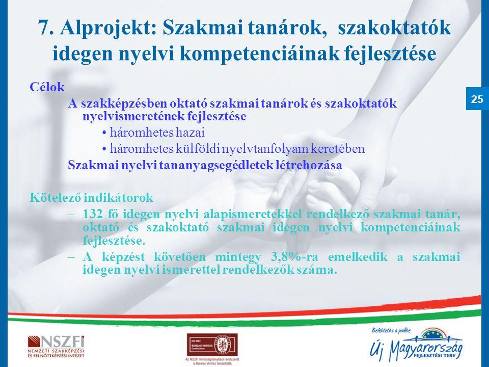 7. Alprojekt: Szakmai tanárok, szakoktatók idegen nyelvi kompetenciáinak fejlesztése