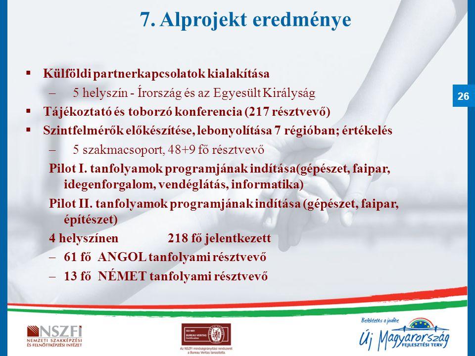 7. Alprojekt eredménye Külföldi partnerkapcsolatok kialakítása