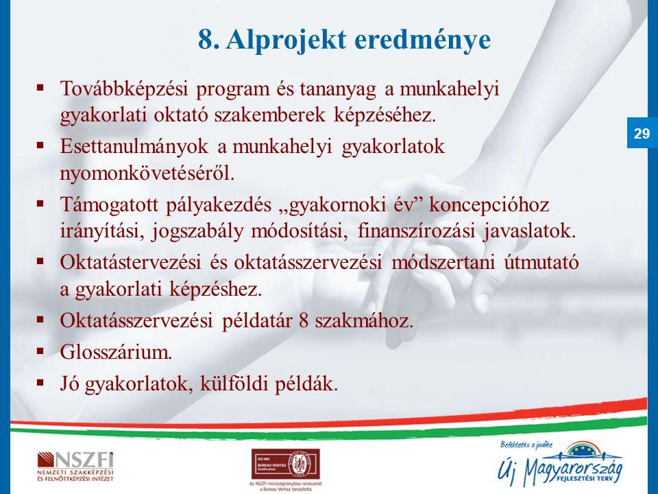 8. Alprojekt eredménye Továbbképzési program és tananyag a munkahelyi gyakorlati oktató szakemberek képzéséhez.