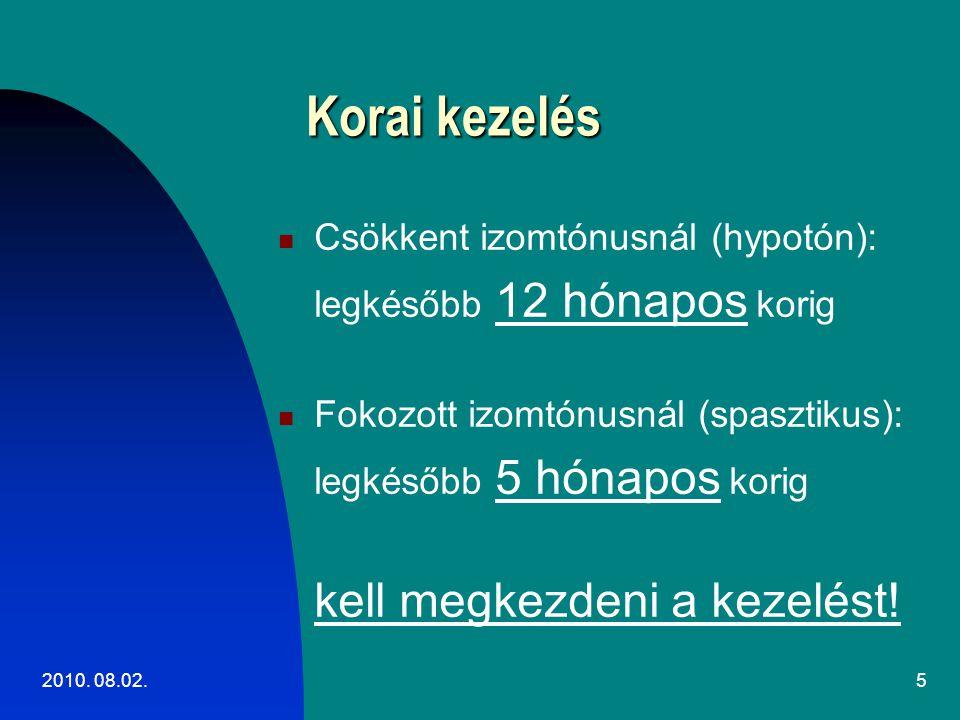 Korai kezelés Csökkent izomtónusnál (hypotón):