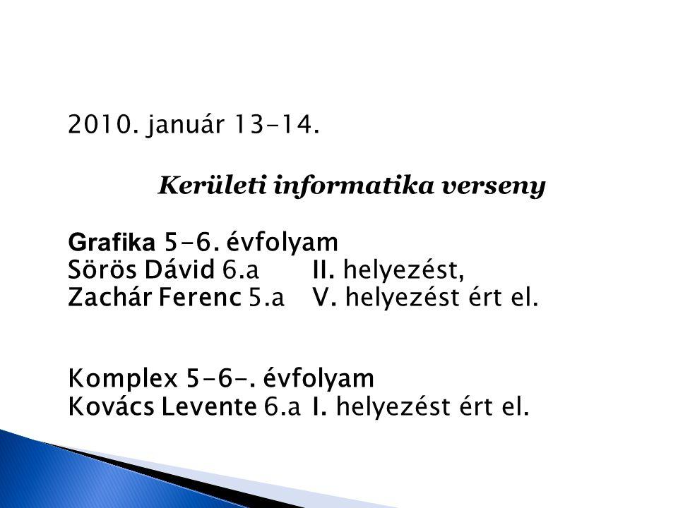 2010. január 13-14. Kerületi informatika verseny Grafika 5-6