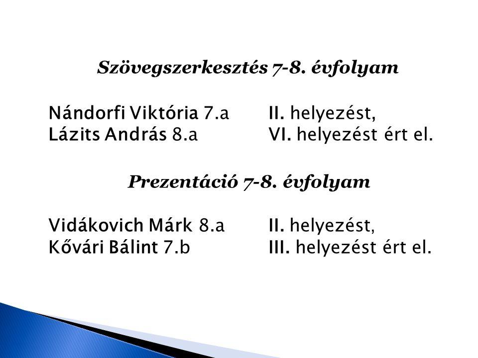 Szövegszerkesztés 7-8. évfolyam Nándorfi Viktória 7. a II
