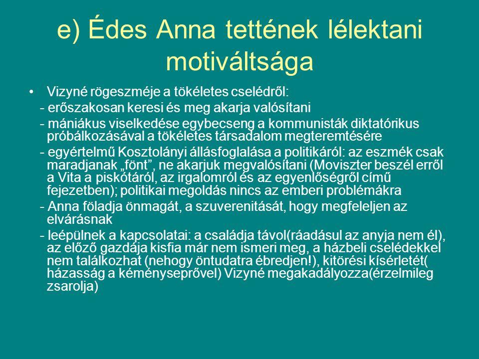 e) Édes Anna tettének lélektani motiváltsága