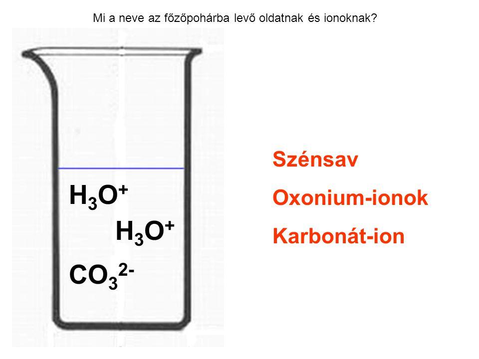 H3O+ H3O+ CO32- Szénsav Oxonium-ionok Karbonát-ion