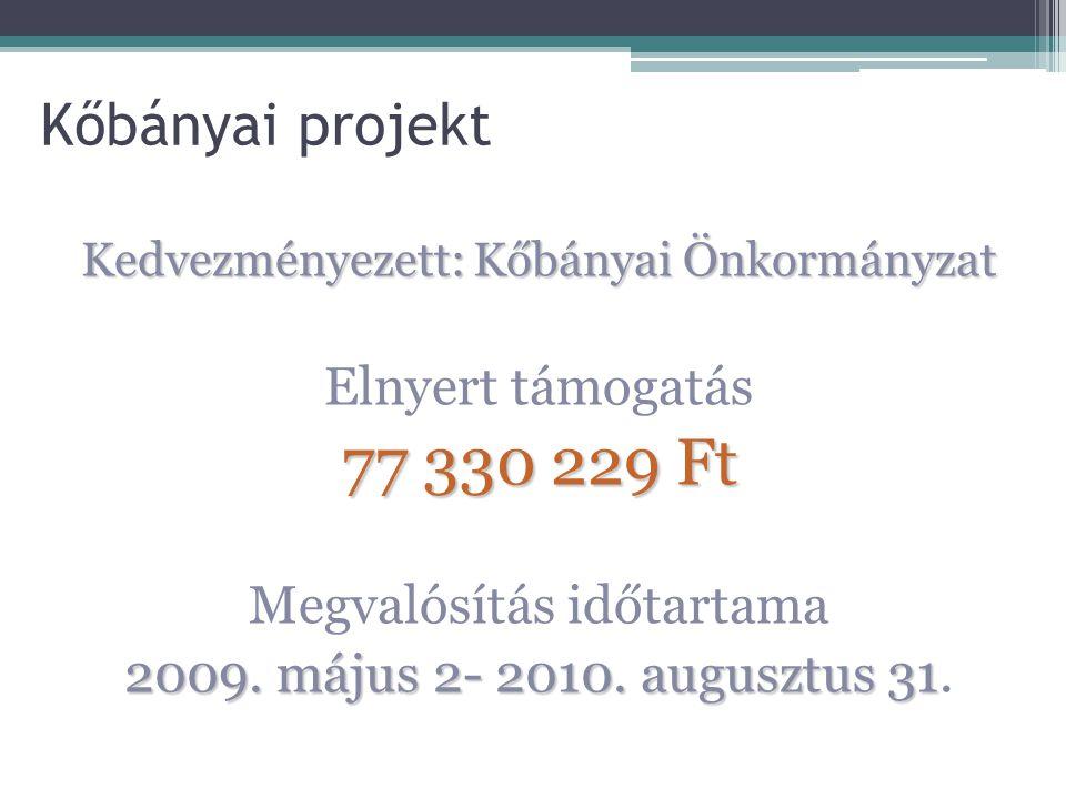 77 330 229 Ft Kőbányai projekt Elnyert támogatás