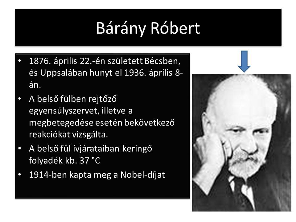 Bárány Róbert 1876. április 22.-én született Bécsben, és Uppsalában hunyt el 1936. április 8-án.