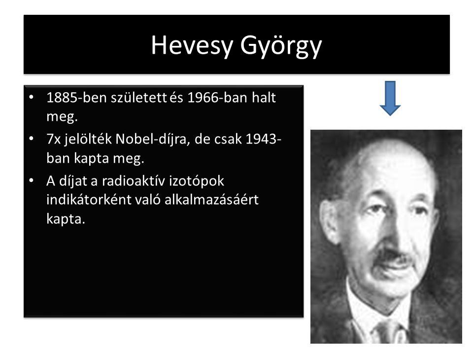 Hevesy György 1885-ben született és 1966-ban halt meg.
