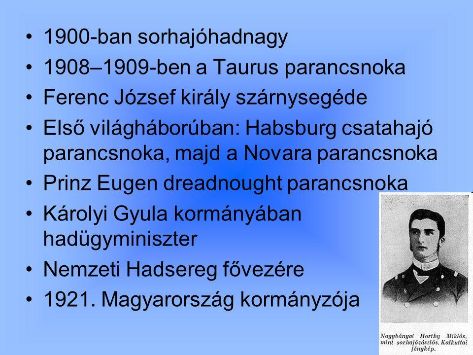 1900-ban sorhajóhadnagy 1908–1909-ben a Taurus parancsnoka. Ferenc József király szárnysegéde.