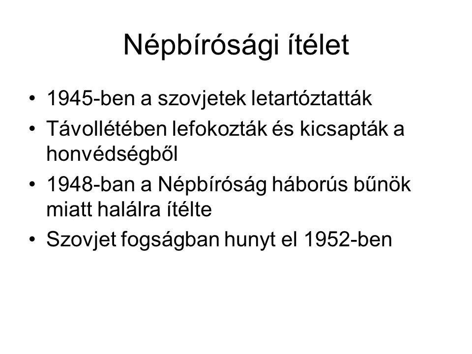 Népbírósági ítélet 1945-ben a szovjetek letartóztatták