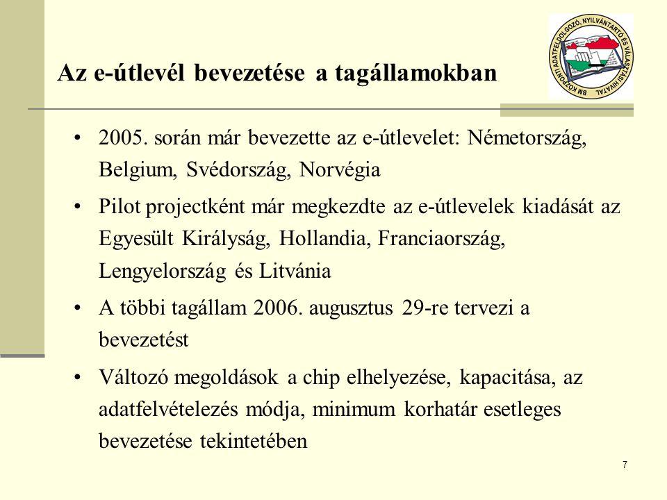 Az e-útlevél bevezetése a tagállamokban