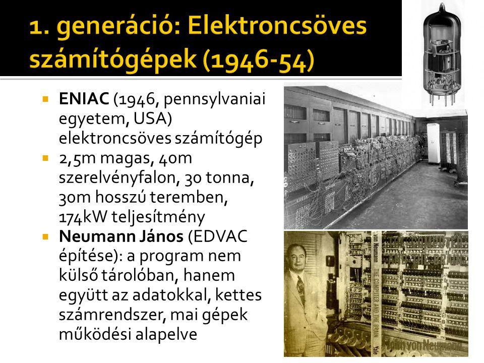 1. generáció: Elektroncsöves számítógépek (1946-54)
