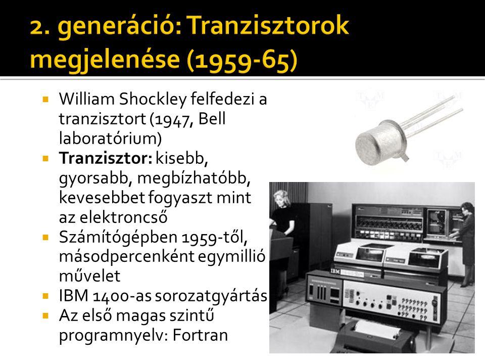 2. generáció: Tranzisztorok megjelenése (1959-65)